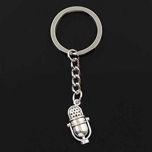 XHYKL sleutelhanger 26 x 13 mm retro vintage microfoon hanger sieraden DIY sieraden auto sleutelhanger souvenir