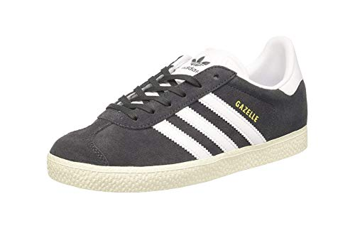 adidas Originals Boys' Gazelle Sneaker, Dark Solid Grey/White/Metallic Gold, 7 Medium US Big Kid