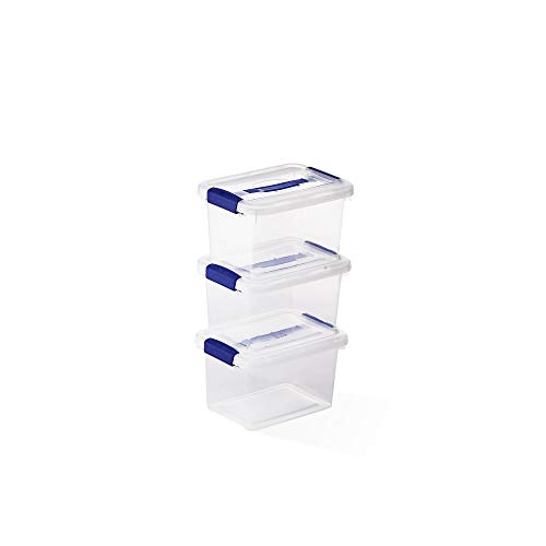 USE FAMILY Space Box. 3 Cajas almacenaje plastico Apilables 6L - Transparente...