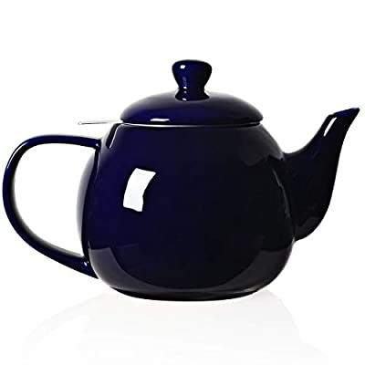 SWEEJAR Porcelain Teapot with Infuser and Lid, 30 OZ(Navy)
