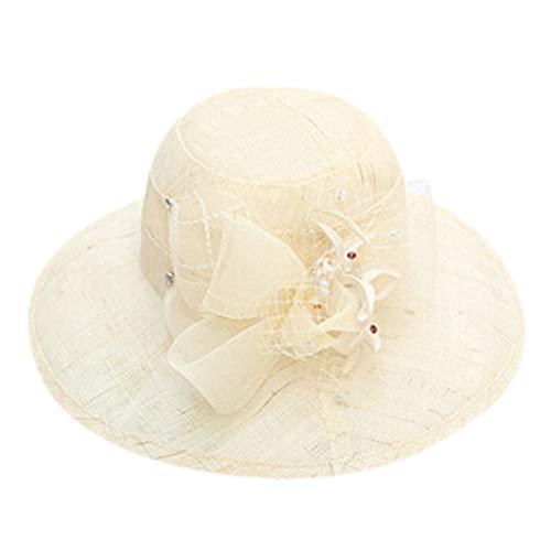 Masrin Frauen Derby Bowler Church Cloche Hut Bowknot Organza Brautkleid Cap (Beige)