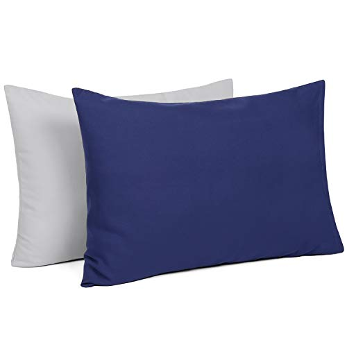 TILLYOU Toddler Travel Pillowcases Set of 2, 14x20- Fits Pillows Sized 12x16, 13x18 or 14x19, 100% Silky Soft Microfiber, Envelope Closure Machine Washable Kids Pillow Cases, Pale Gray & Navy