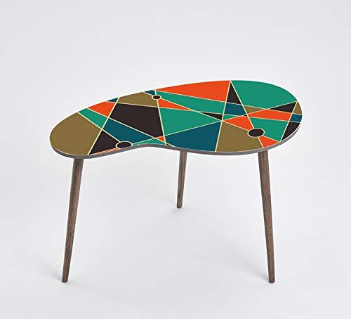 Queence Design-Tisch/Beistelltisch/Couchtisch/Retro Design/Nierenform/Coffee Table Tisch/Nierentisch/Telefontisch/Größe: 60x40, Farbe:Abstrakt/Bunt