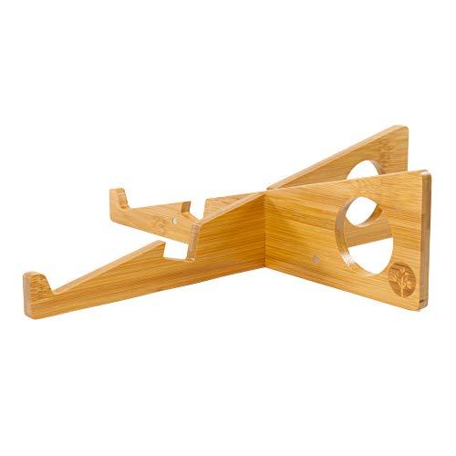 Laptopständer und Tablethalterung aus Bambus (2in1) | Ideales Gadget auf dem Schreibtisch im Büro, Home Office, der Universität oder auf Reisen | Geräte bis 16 Zoll | Faltbarer Tischständer