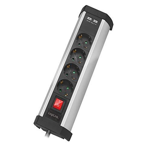 Stekkerdoos 4-voudig (geaard stopcontact CEEE 7/3) met kinderbeveiliging, 2x USB en aan-/uitschakelaar in 1,5 m lengte