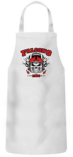 Shirt Happenz Falcons American Football Atlanta 1965 Super Bowl Schürze Grillschürze Kochschürze, Größe:60cm x 87cm, Farbe:Weiss (White PW102)