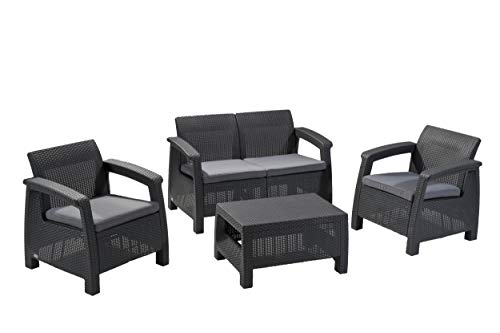 Keter Corfu Outdoor 4 Seater Rattan Sofa Furniture Set with Accent Table - Graphite with Grey Cushions