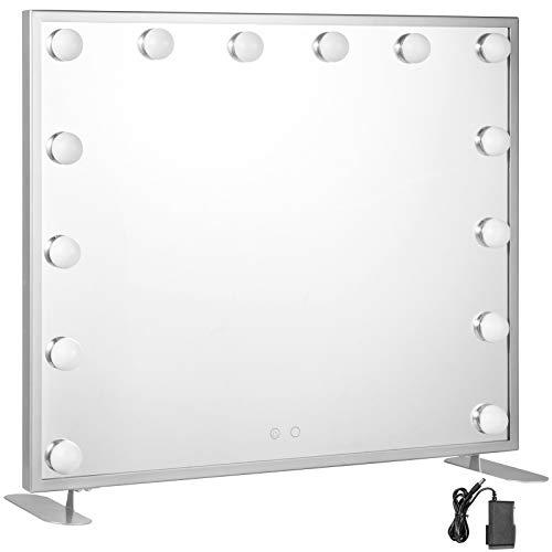 VEVOR Vanity Led Schminkspiegel 600 * 500mm kosmetikspiegel Beleuchtet mit 14 Stück Dimmbaren LED-Lampen Schminkspiegel für Tisch Kosmetik(Silber)