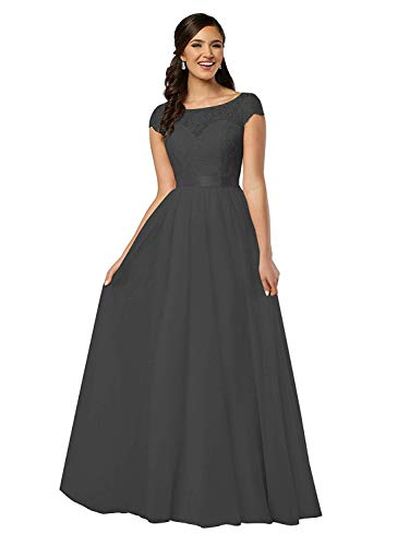 Lamosi Lace Bodice Long Bridesmaid Dress Cap Sleeve Chiffon Evening Dress A Line Prom Gowns