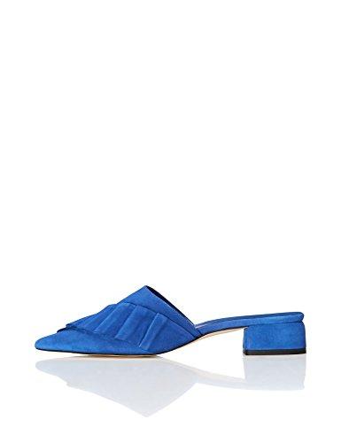 find. Mules Damen aus Rauleder mit flachem Absatz, Blau (Blue), 37 EU