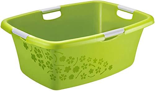 Rotho Flowers Wäschewanne 50l mit 4 Griffen, Kunststoff (PP) BPA-frei, grün/weiss, 50l (65,1 x 48,6 x 26,2 cm)