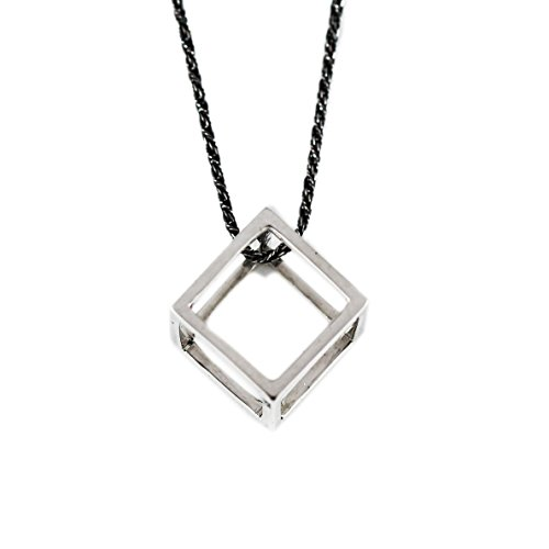 Polished Silver Cube Square Necklace