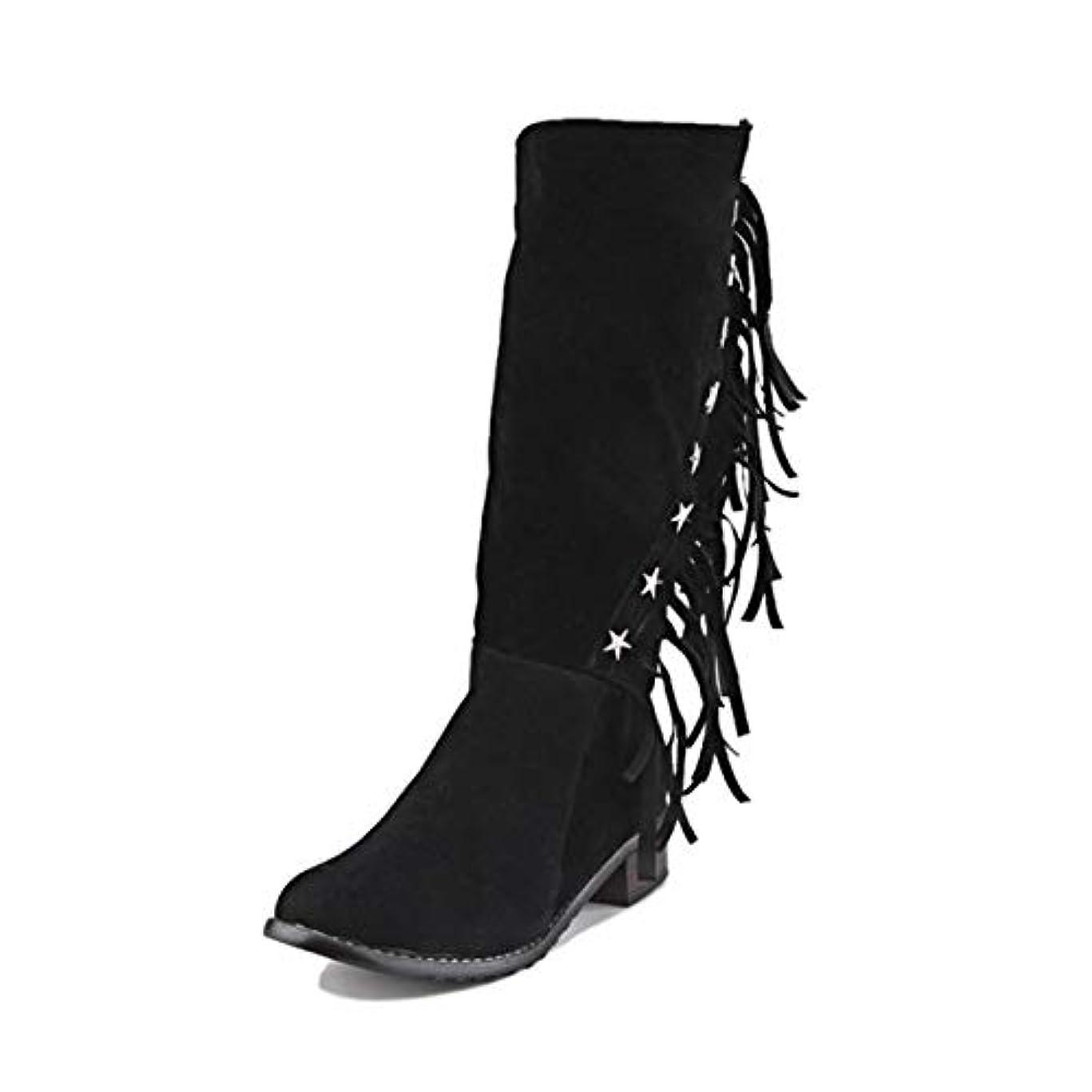[AHZHDXZM] レディーススティレットウィンターブーツビッグサイズ33-50ラウンドトゥバックルブーツ女性用カジュアルファッション暖かい冬靴17黒レディースハイヒールヒール
