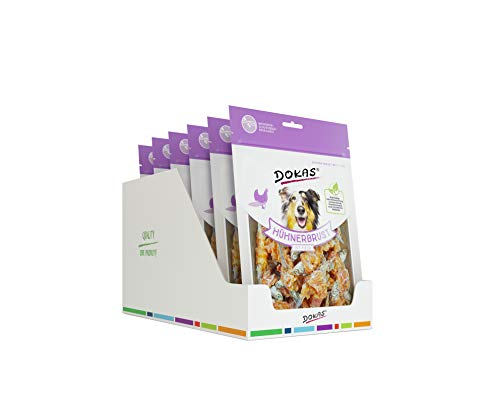 DOKAS Snack Premium senza cereali con petto di pollo e pesce per cani – ideale per il tempo