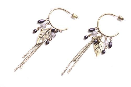Charming & Chic-golden foglia & catena/perline impreziosito metallo orecchini a cerchio (Zx302)