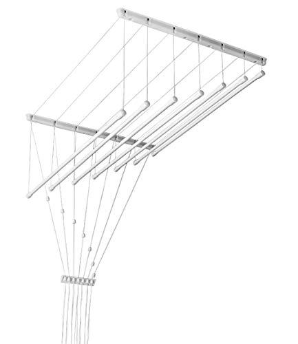 Novità. Stendibiancheria da soffitto 140cm Bianco 7aste Portabiancheria regolabili
