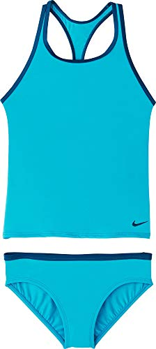 Nike Kids Girl's Solid Racerback Tankini (Little Kids/Big Kids) Light Blue Fury XL (18-20 Big Kids)