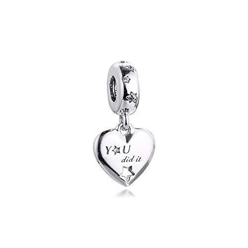 LILANG Pandora 925 Jewelry Bracelet Natural Fits Enhorabuena Corazón Estrellas Dangle Charm Rosario Sterling Silver Charms Beads para Mujeres DIY Gift