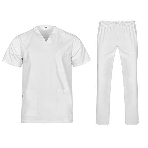 B-well Colombo Unisex-Schrubb-Set Schlupfkasack + Schlupfhose Set Medizin Arzt Uniform Schlupfjacke Oberteil mit Hose Medizinische Berufsbekleidung (M, Weiß)