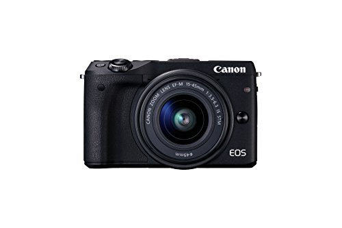 Canon EOS M3 Systemkamera (24 MP APS-CCMOS-Sensor, WiFi, NFC, Full-HD, Kit inkl. EF-M 15-45mm 1:3,5-6,3 IS STM Objektiv) schwarz