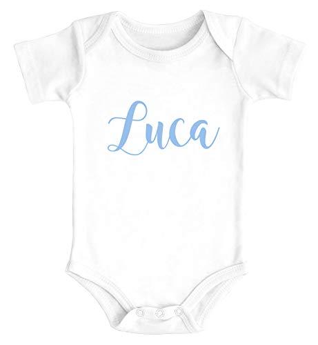 SpecialMe® Baby Body mit Namen Bedrucken Lassen eigener Name Wunschname Kurzarm Bio Baumwolle weiß/blau 0-3 Monate
