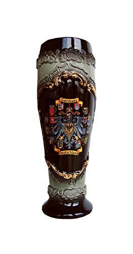 Zöller & Born Jarra de cerveza alemana en forma de vaso tradicional alemana negra con escudo de estaño, jarra 0,5 litros ZO 1543S600