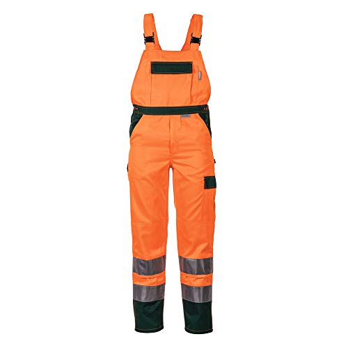Größe 64 Herren Planam Warnschutz Latzhose 2-farbig orange grün Modell 2028