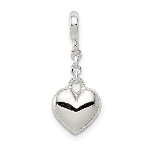 925 Sterling Silver Heart 1/2in Dangle Enhancer Necklace Pendant Charm Love Fine Jewelry For Women Gifts For Her