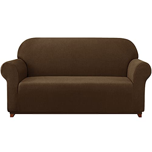 subrtex Sofa Cover 1-Piece Stretch Couch Slipcover Soft Couch Cover Washable Furniture Covers, Jacquard Fabric Small Checks(Coffee,Large)