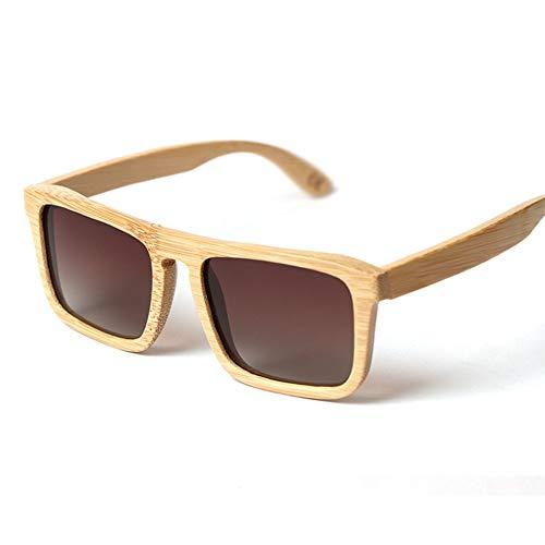 GTYHJUIK gepolariseerde bamboe houten zonnebril grote doos persoonlijkheid vierkante schaduw spiegel kleur film bril outdoor sport rijden voor mannen en vrouwen
