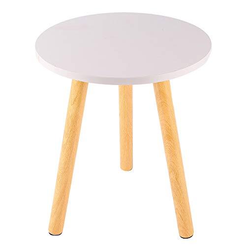 Mesa de centro redonda blanca Dia 36x29cm Lámpara lateral Mesa auxiliar con patas de madera Mesa blanca pequeña para sala de estar,Blanco