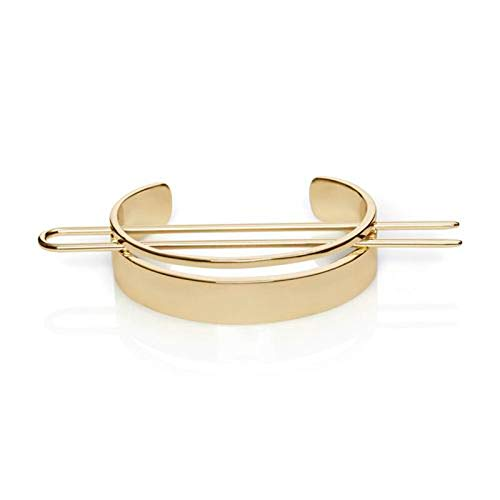 MinerSama - Original Design High Polished Alloy Round Top Hair Cuff Bun Cage Minimalist Bun Holder Cage Hair Stick Wedding Hair Accessories (1)