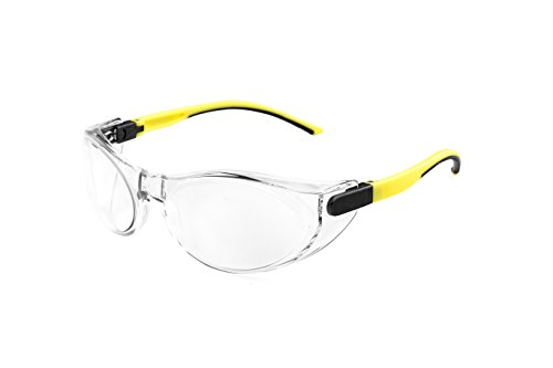 OPTOR PEGASO 73.9 - Gafas proteccion gama ANTI-IMPACT modelo SICURIS Lente PC Incolora Antivaho, Negro Y Amarillo, L