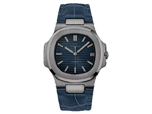 Sportlich Elegante Herren Automatik Uhr Modell Nautiker, entspiegeltes Glas, Leder Armband, 2813 Uhrwerk, blau/blau