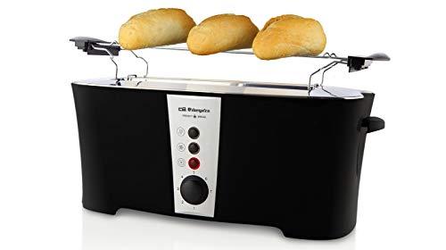 Orbegozo TO 7050 - Tostadora doble ranura, 7 niveles de tostado, función descongelado, bandeja recogemigas, calienta panecillos, parada rápida, 1350 W