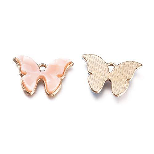 Cheriswelry 10 colgantes colgantes de mariposa esmaltada, diseño de mariposa, para joyas, collares, manualidades, etc