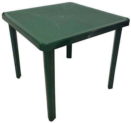 ombrellone da giardino verde SF SAVINO FILIPPO Tavolo tavolino Quadrato 80x80 Nettuno in Dura Resina di plastica Verde con Foro per ombrellone per Esterno casa Balcone Bar sagra da Giardino