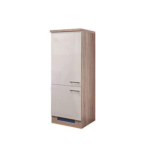 Flex-Well Midi-Kühlschrankumbauschrank NEPAL - Umbauschrank für Kühlschrank - 2-türig - Breite 60 cm - Creme glänzend/Eiche Sonoma