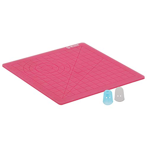 MKOEM 3D Pen Mat, 3D Printing Pen Silicone Design Mat with Basic Template for Kid or Adult, with 2 Silicone Finger Caps (Red)
