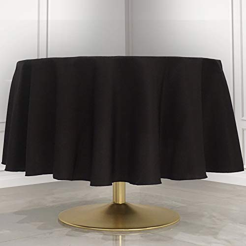 "Kadut Black Tablecloth - 90"" Inch Round Tablecloths for Circular Table Cover in Black Washable Polyester - Great for Buffet Table, Parties, Holiday Dinner & More"