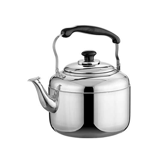 tea kettle Bouilloire à Thé Sifflante ThéIèRe en Acier Inoxydable ArgentéE, avec PoignéE Ergonomique de Grande Capacité, Convient au Dessus de CuisinièRe (Taille : 7L)