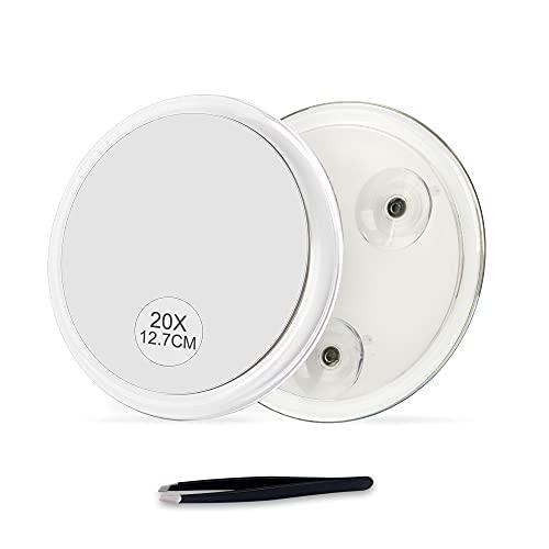 Versión 2020 actualizada, 5 pulgadas, espejo de aumento 20X con tres ventosas, uso para aplicación de maquillaje, pinzas y...