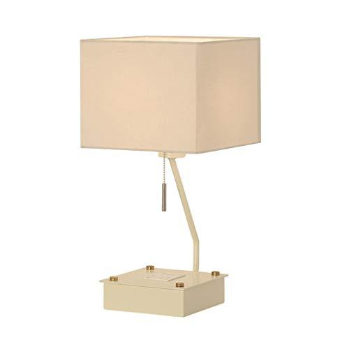 Schreibtischlampen Tischlampen Quadratische Eisenbasis und Stoffschirm Schreibtischlampe Wohnzimmer Schlafzimmer Büro E27 Leselampe mit Zugschalter Tisch- & Nachttischlampen (Color : White)