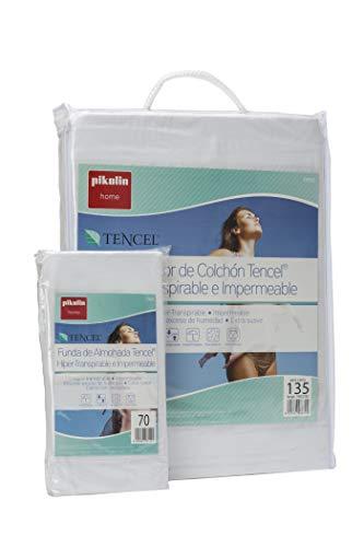 Pikolin Home - Set híper-transpirable e impermeable con protector de colchón (135x190/200cm) y funda de almohada (40x135cm) (Todas las medidas)