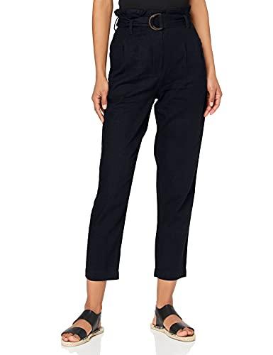 Amazon-Marke: find. Damen Paperbag-Hosen aus Leinen, Blau (NAVY), 38, Label: M