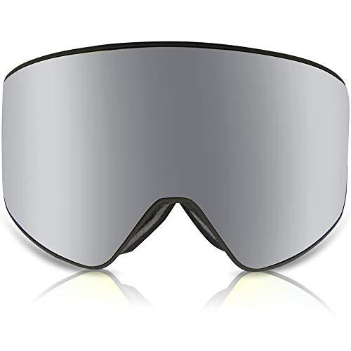 GANZTON Skibrille Snowboardbrille Beschlagfreie Schneebrille OTG Brillenträger Anti-Fog UV-Schutz Snow Ski Brille mit Doppel-Objektiv und Einstellbares Band für Herren Damen Jungen Mädchen(Silber)