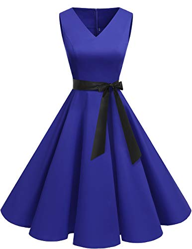 bridesmay 1950er V-Ausschnitt Kleid Vintage Cocktailkleid Rockabilly Retro Schwingen Kleid Faltenrock Royal Blue L