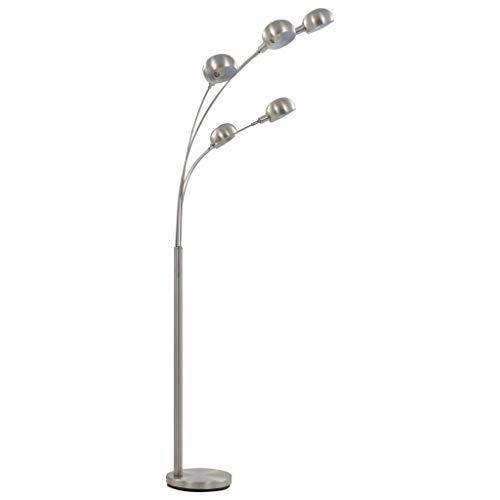 Tidyard Stehlampe Stehleuchte Standleuchte Leselampe Leseleuchte Bodenlampe Wohnzimmerlampe Bogenlampe Bogenleuchte 200cm 5xE14 Silbern