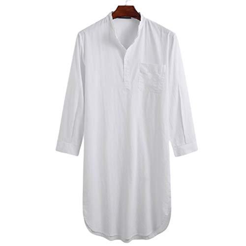Nachthemd herren Nachtwäsche Schlafkleid mit Rundhals und Knopfleiste Baumwolle Leinen Robes Baumwolle Knielang Schlafkleid Lang Baumwolle Schlafshirt Einteiliger Schlafanzug herren
