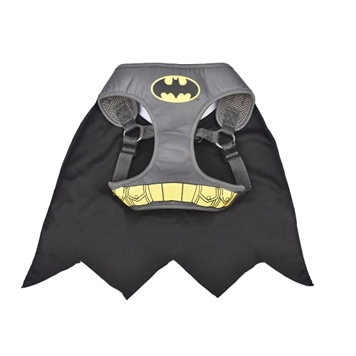 DC Comics for Pets Batman Harness for Dogs in Size Small | Gray Superhero Dog Harness Dog Costume | Harness for Small Dog Breeds, Fun and Cute Dog Halloween Costume
